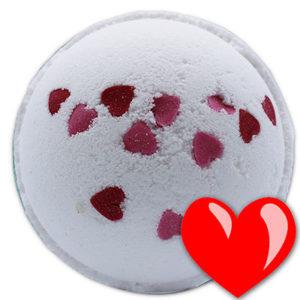 Boule de bain effervescente Cœurs d'amour, Fleurs sauvages, vendu par bubulle et savon.
