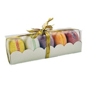 Coffret cadeau de 5 macarons effervescents, vendu par bubulle et savon.
